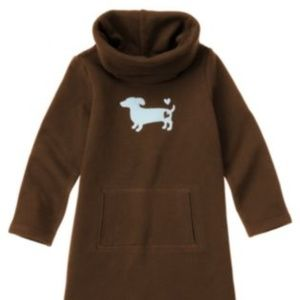 Gymboree Dachshund Dog Cowl Neck Fleece Dress